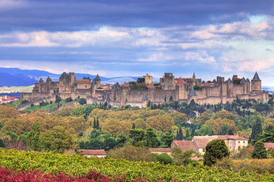 The famous fortified town of Carcassonne, France.