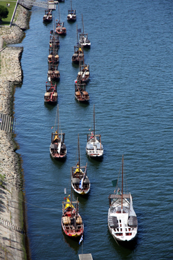 Wine ships on the Douro in Porto, Portugal